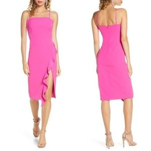 Bardot Hot Pink Ruffled Cocktail Dress NEW w/o Tag